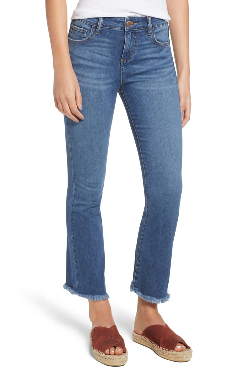 Prosperity Denim High Waist Crop Flare Jeans   For the budget conscious formerly $79 now on sale at Nordstrom for $43.20.Prosperity. Note the slides