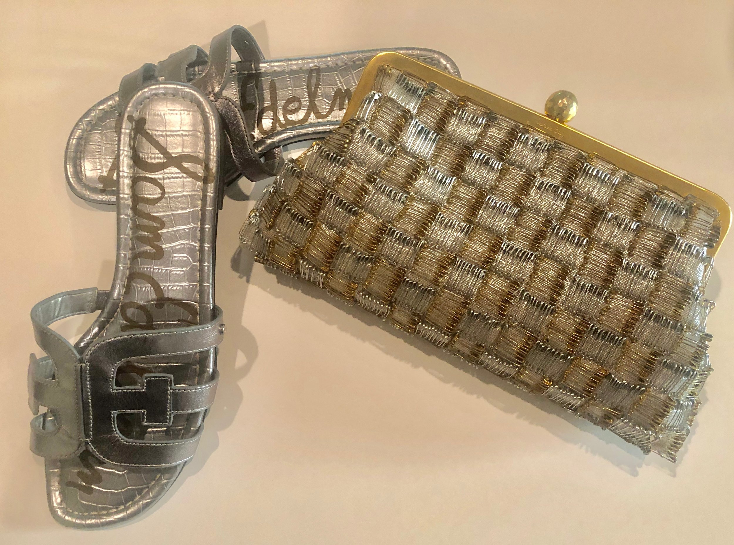 My Sam Edelman slides in silver. Also shown is my safety pin clutch by Sarahs Bag (this bag also owned by Amal Clooney) found  HERE. Its a work of accessory art made of tiny gold and silver safety pins