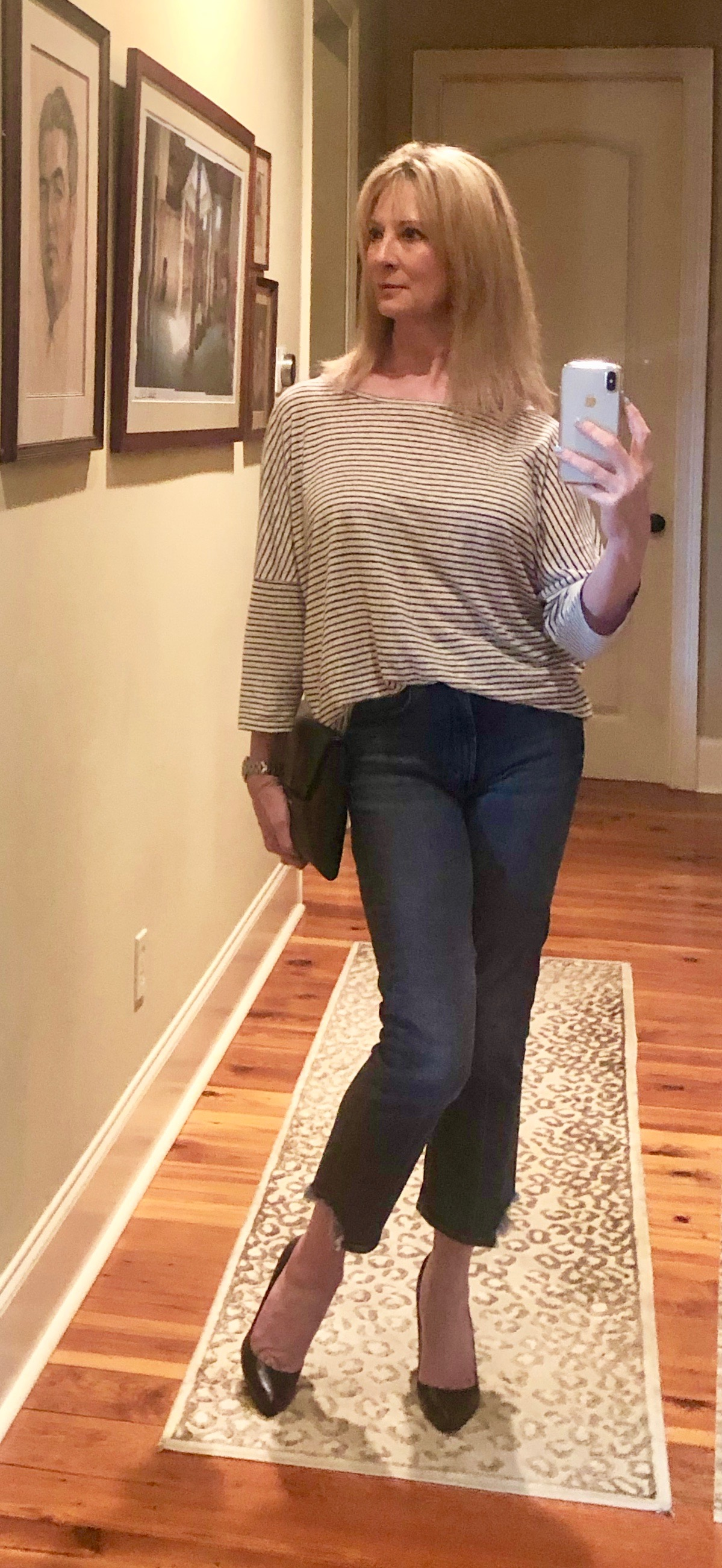Doing a French tuck with flared and cropped jeans
