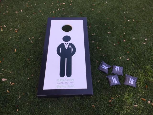 Our Mr. Corn-hole Board at the Wilmington Weddings & Events Spring Bridal Mixer at the Arboretum