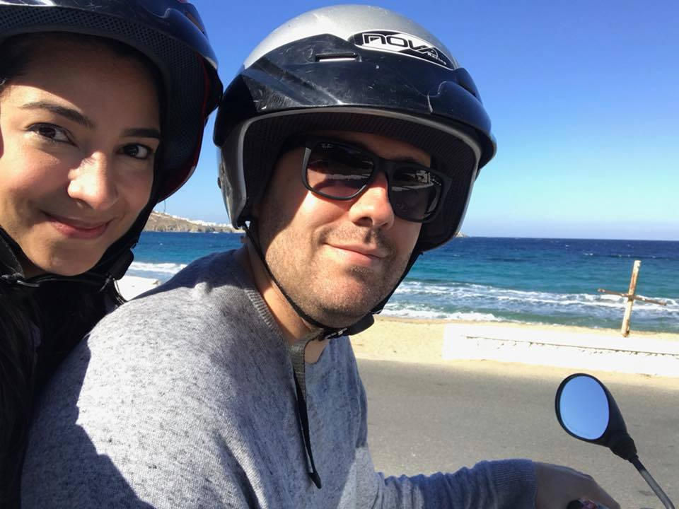 Riding around on our moped in Mykonos, Greece!