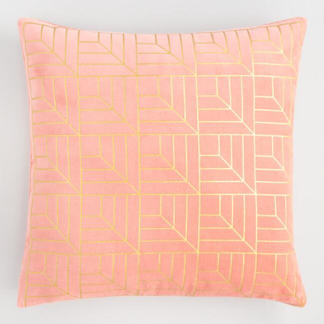 Salmon Geometric Pillow