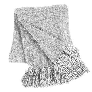 Gray Chenille Throw Blanket