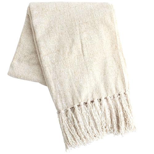 White Chenille Throw Blanket