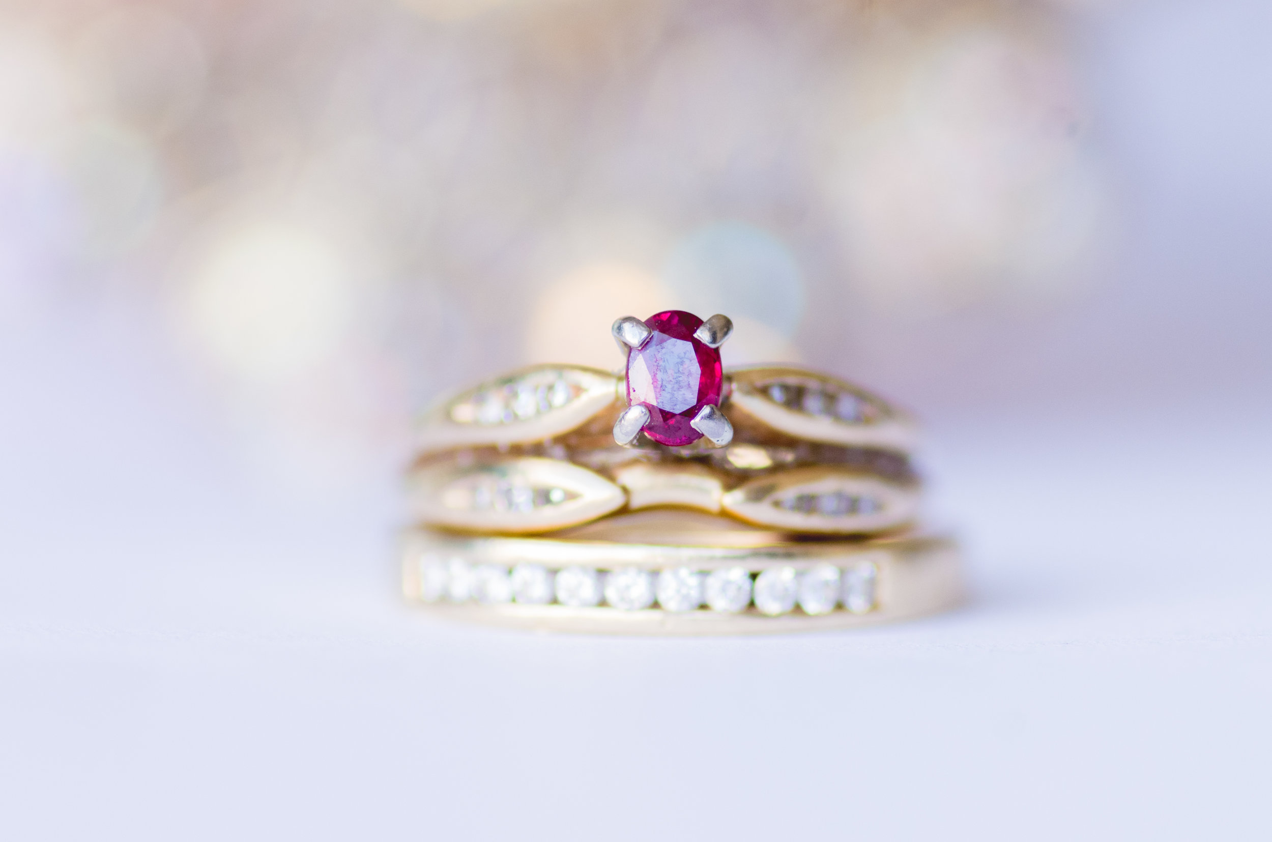 Ruby Wedding Ring Captured by Let There Be Light Photo in Calgary