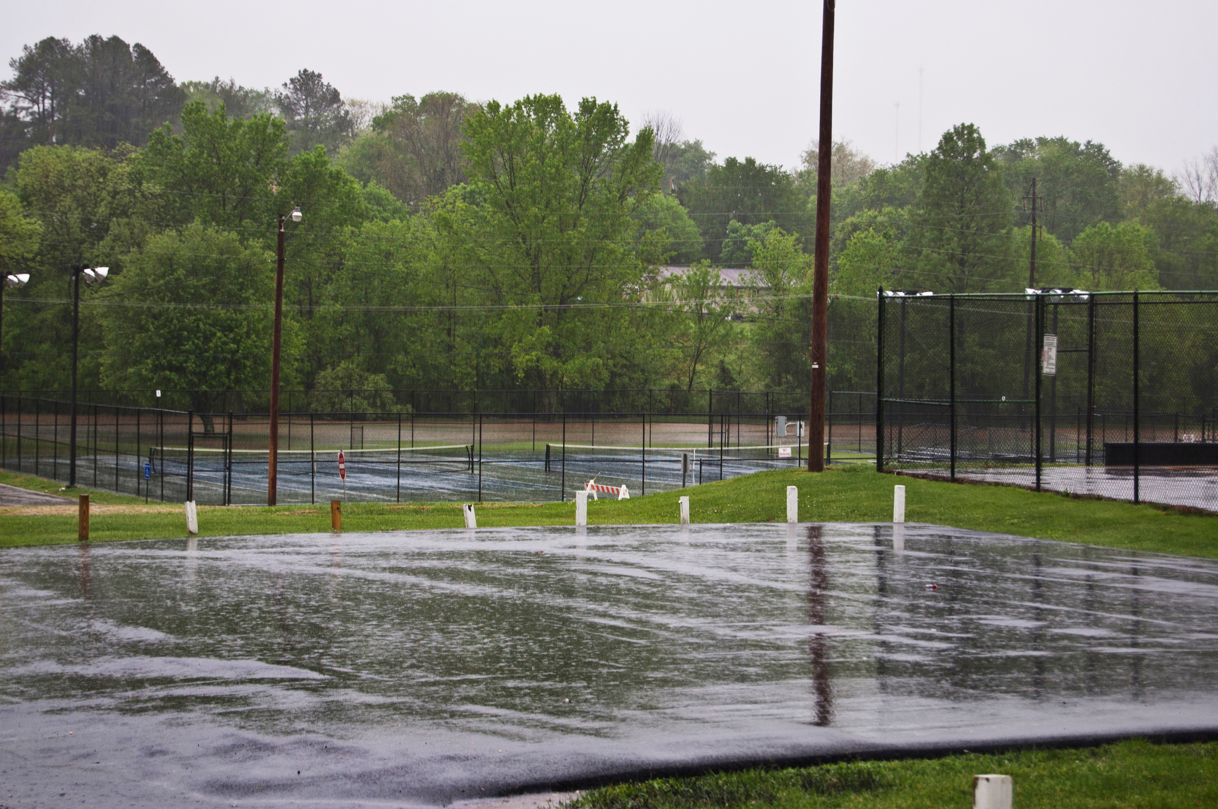 View of Gorin Park flooding to the right of the substation.