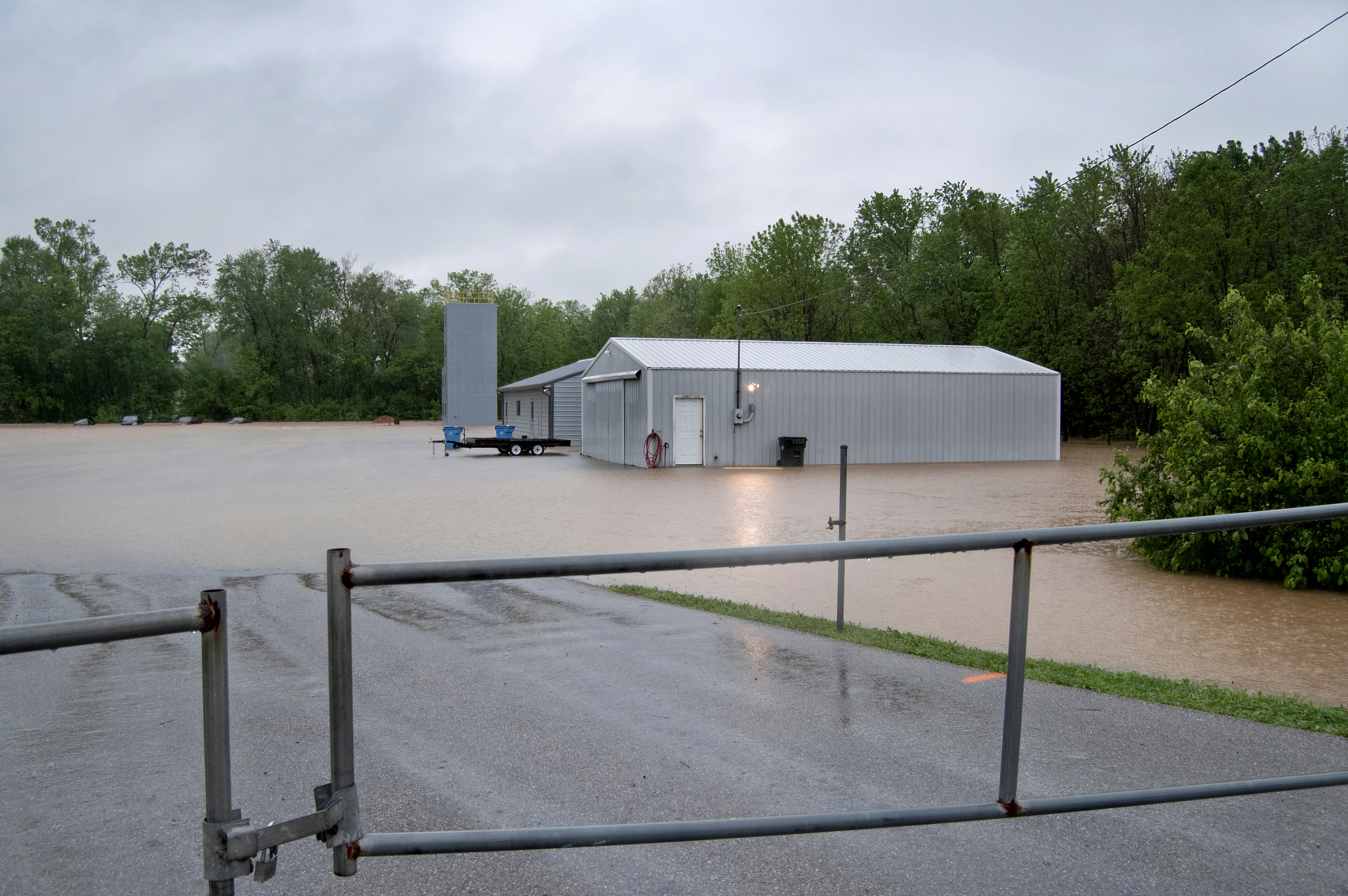 The fire department's training facility was surrounded by water.