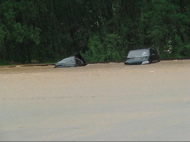 Cars at the were also flooded. (video screenshot)