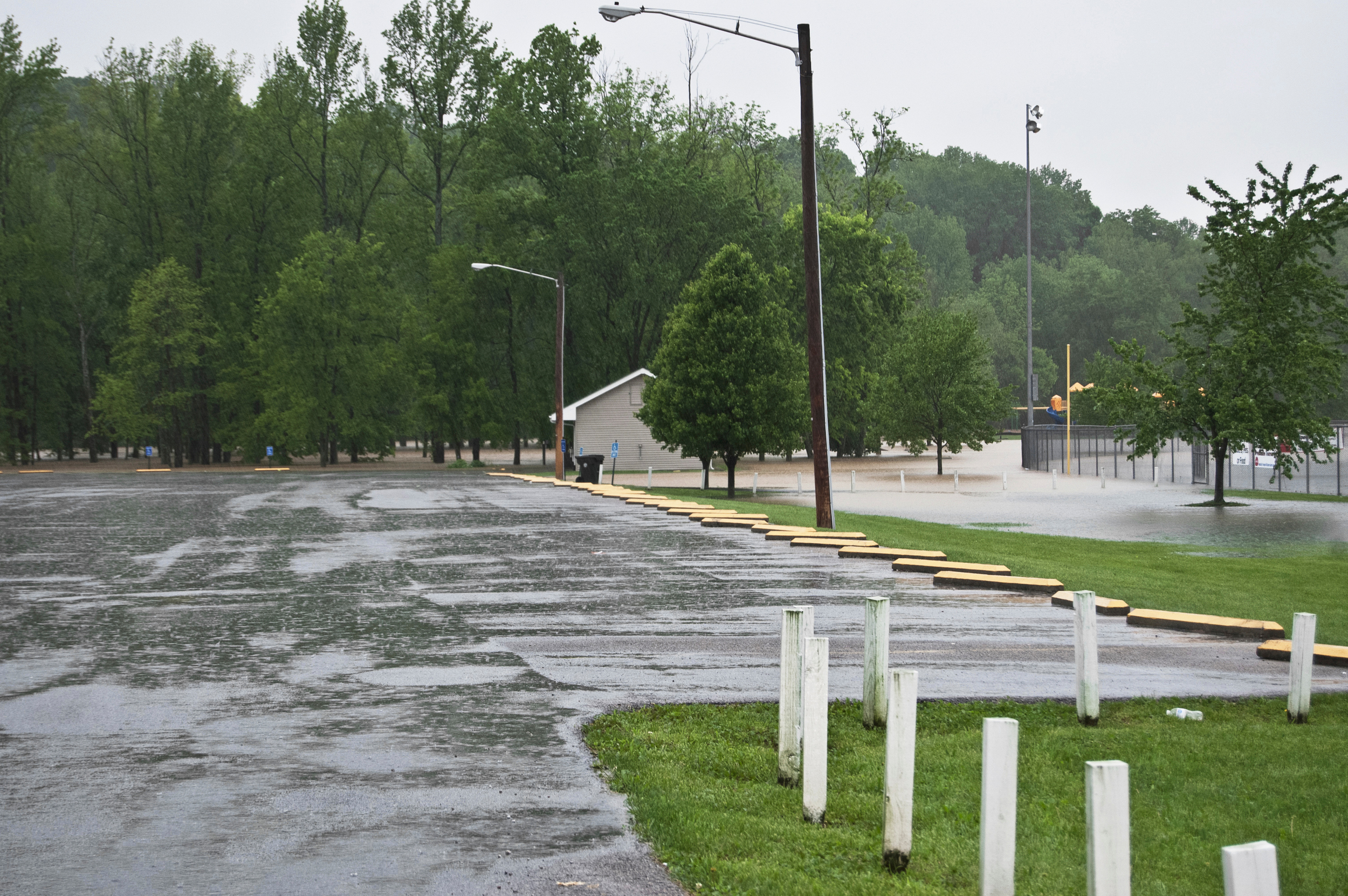 Beaver Trail's entrance was flooded. The city later reported the picnic tables had been moved by the flooding and damage to the pavilion and park fencing.
