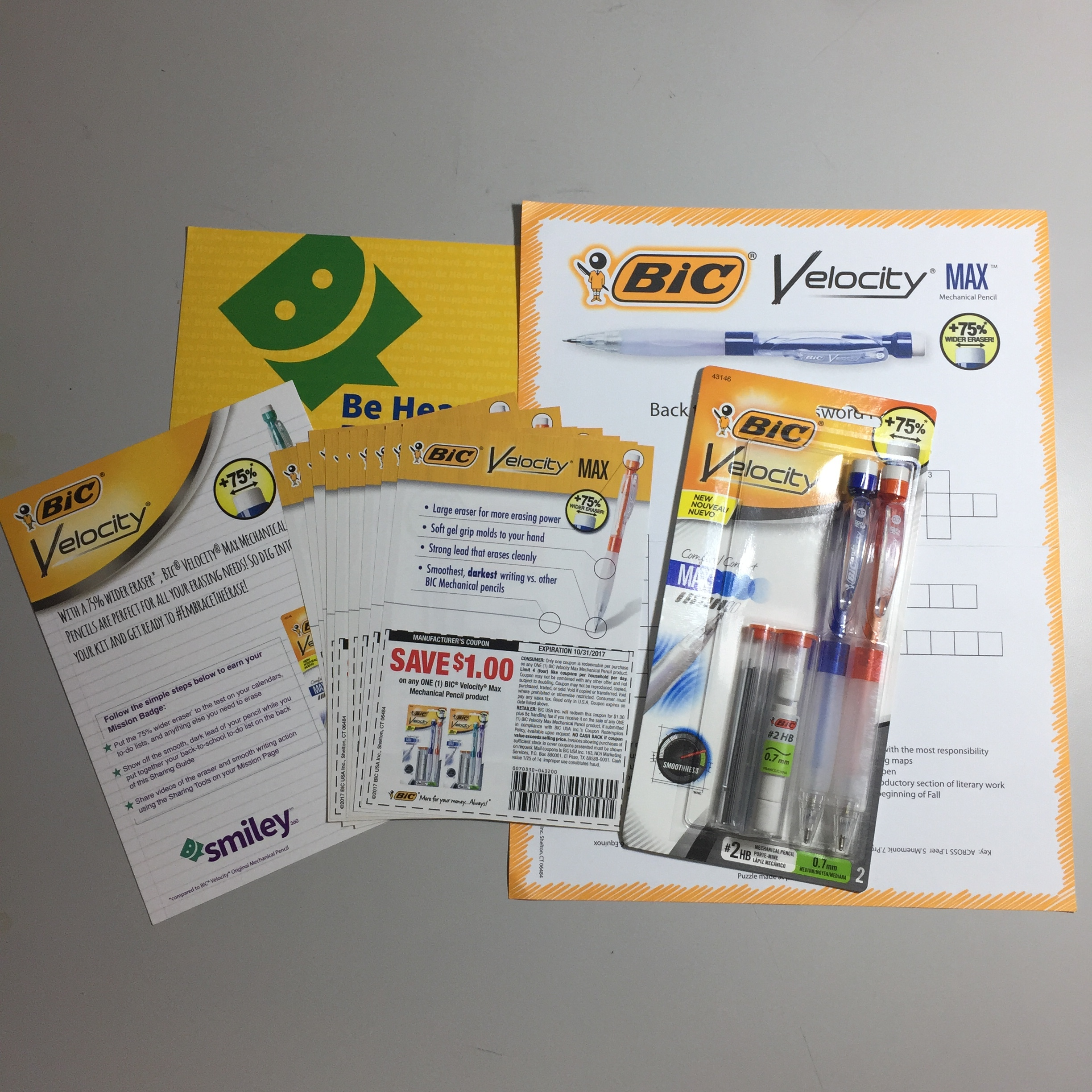Here's what was in my #FreeSample from Smiley360 and BIC:2-pack BIC® Velocity® Max 0.7mm Mechanical Pencils, 10 Coupons to share with friends, Crossword Puzzle.