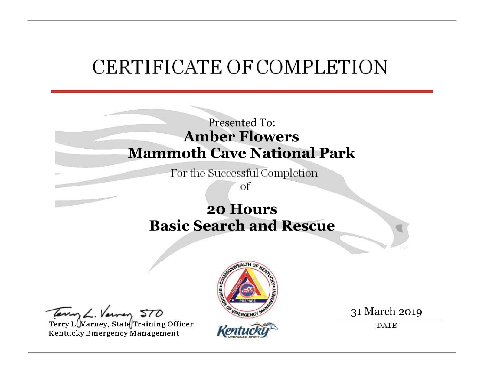 BSAR - Basic Search & Rescue , Kentucky Emergency Management March 29th-31st 2019 (20hrs)