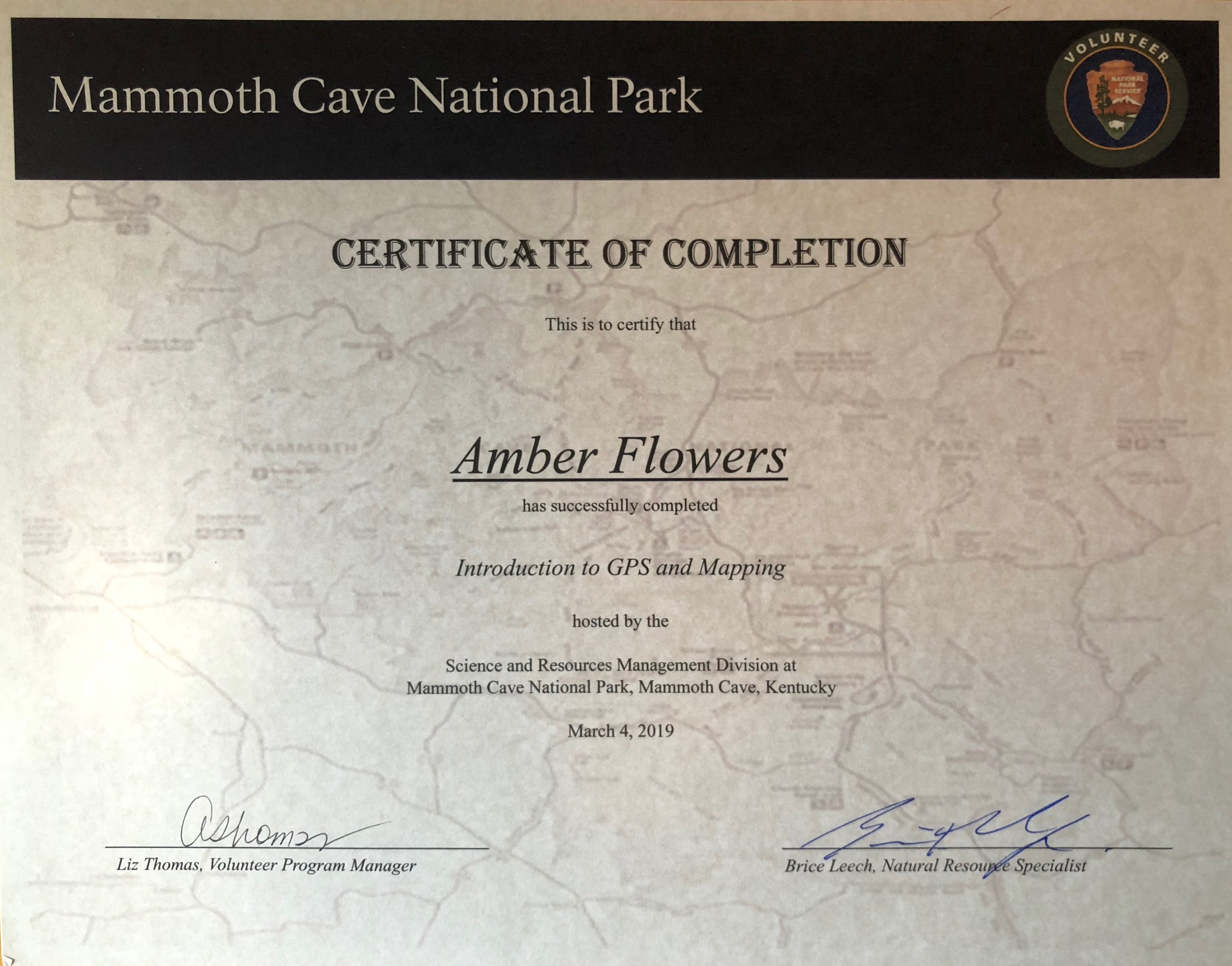 Introduction to GPS and Mapping  Mammoth Cave National Park.  March 4th, 2019