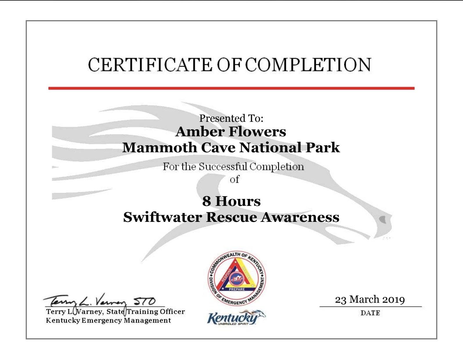Swift Water Awareness   (Awareness Level)   Kentucky Emergency Management  March 23rd, 2019 (8hrs)