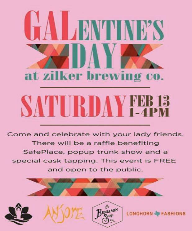 Zilker Brewing Co. | Enjoy local events like Zilker's Galentine's Day event, which is an occasion exclusively for you and your lady friends to enjoy! Among the various goodies promised at the event, there will be a popup trunk show, local vendors, and of course- beer.