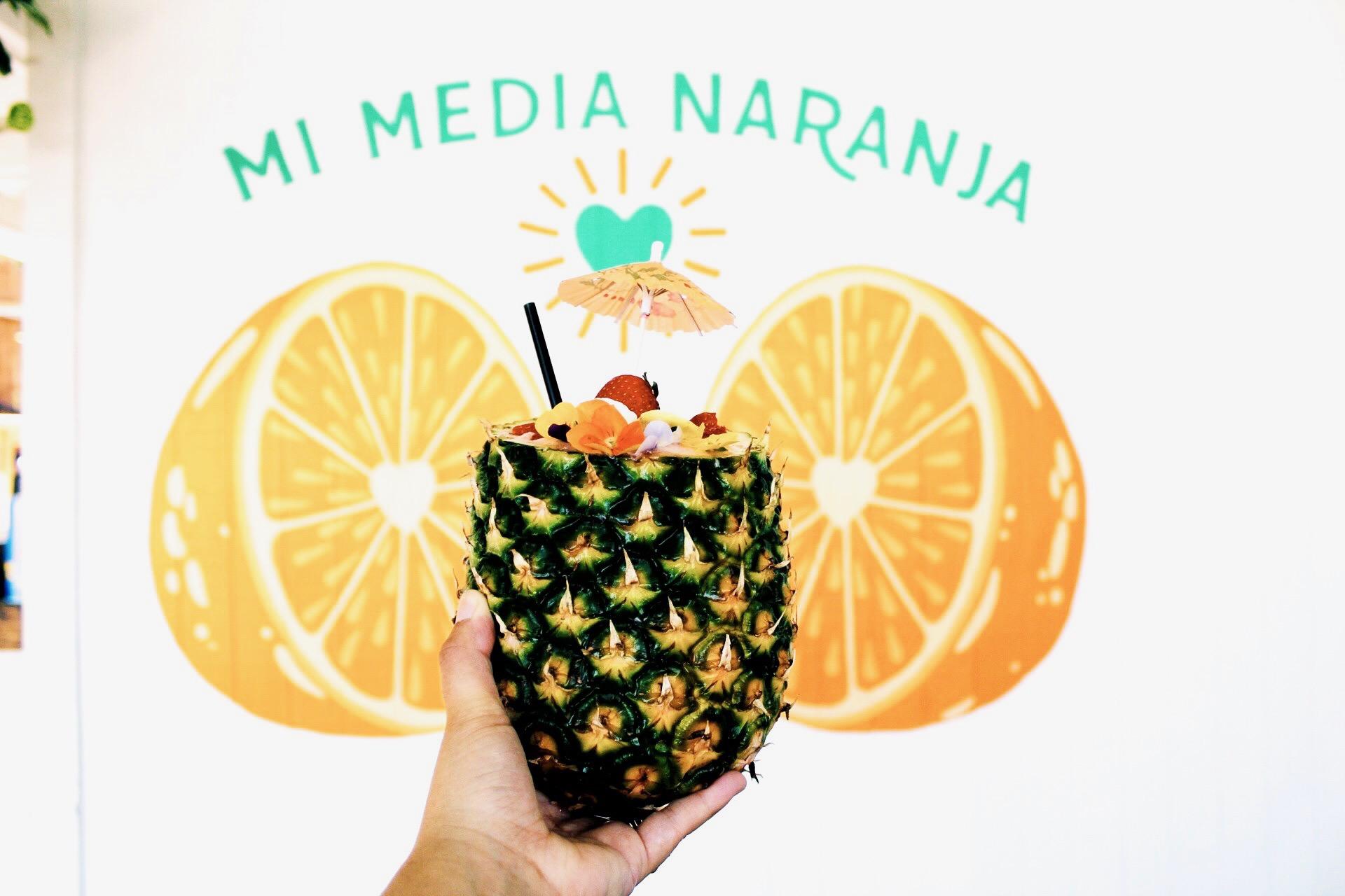 PIÑA PARA LA NIÑA    Strawberry frozen margarita served in a pineapple