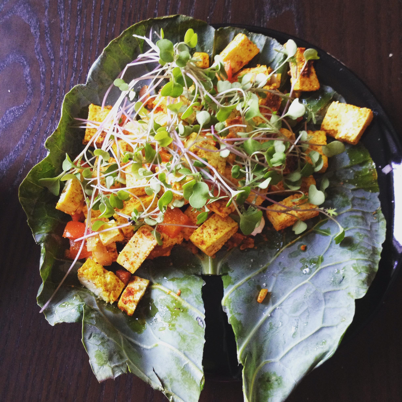 Meatless Monday Breakfast.  Tofu Collard Wrap with Pumpkin Seed Sundried Tomato Pesto,Sprouts, Turmeric, Paprika, Chili Powder