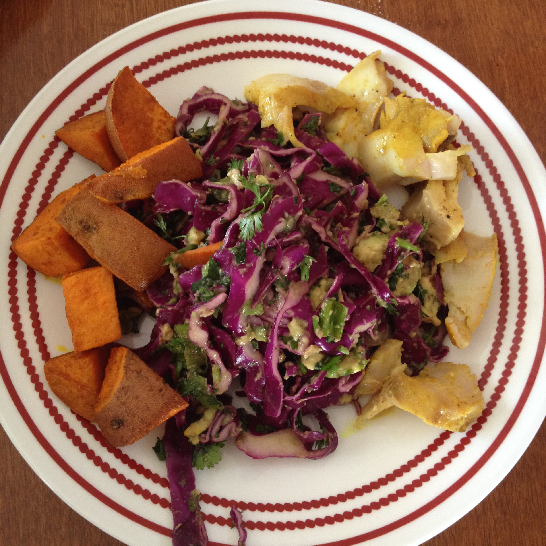 Taco Bowl - Snapper, sweet potatoes, & cabbagecilantro, avocado lime dressing