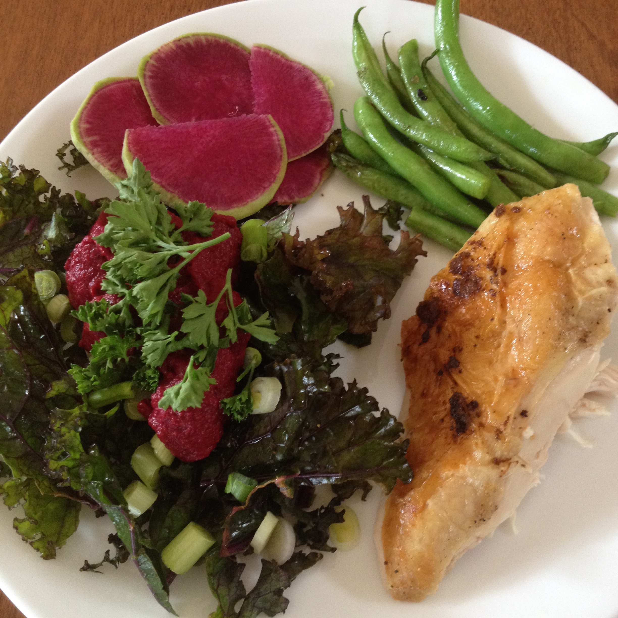Watermelon Radish, Green Beans, Julia Childs whole chicken recipe with a kale salad and beet hummus.
