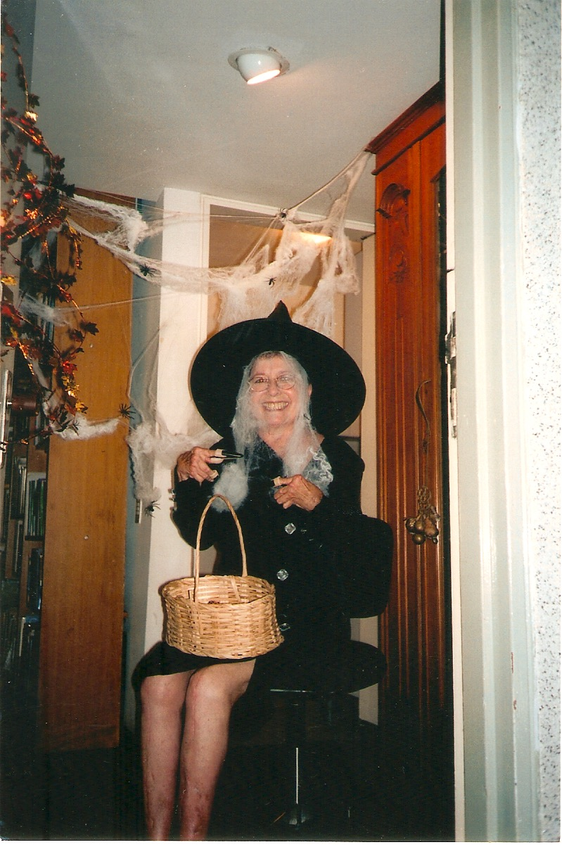 That's my mom dressed as a witch for Halloween