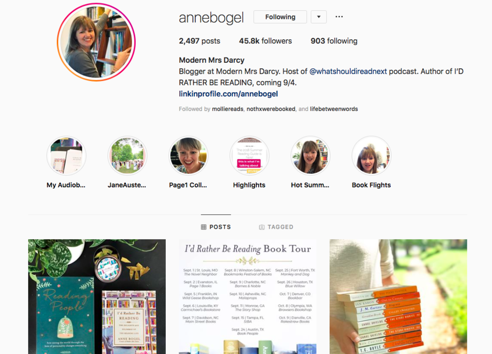 Favorite instagram accounts for book lovers and what book to read next