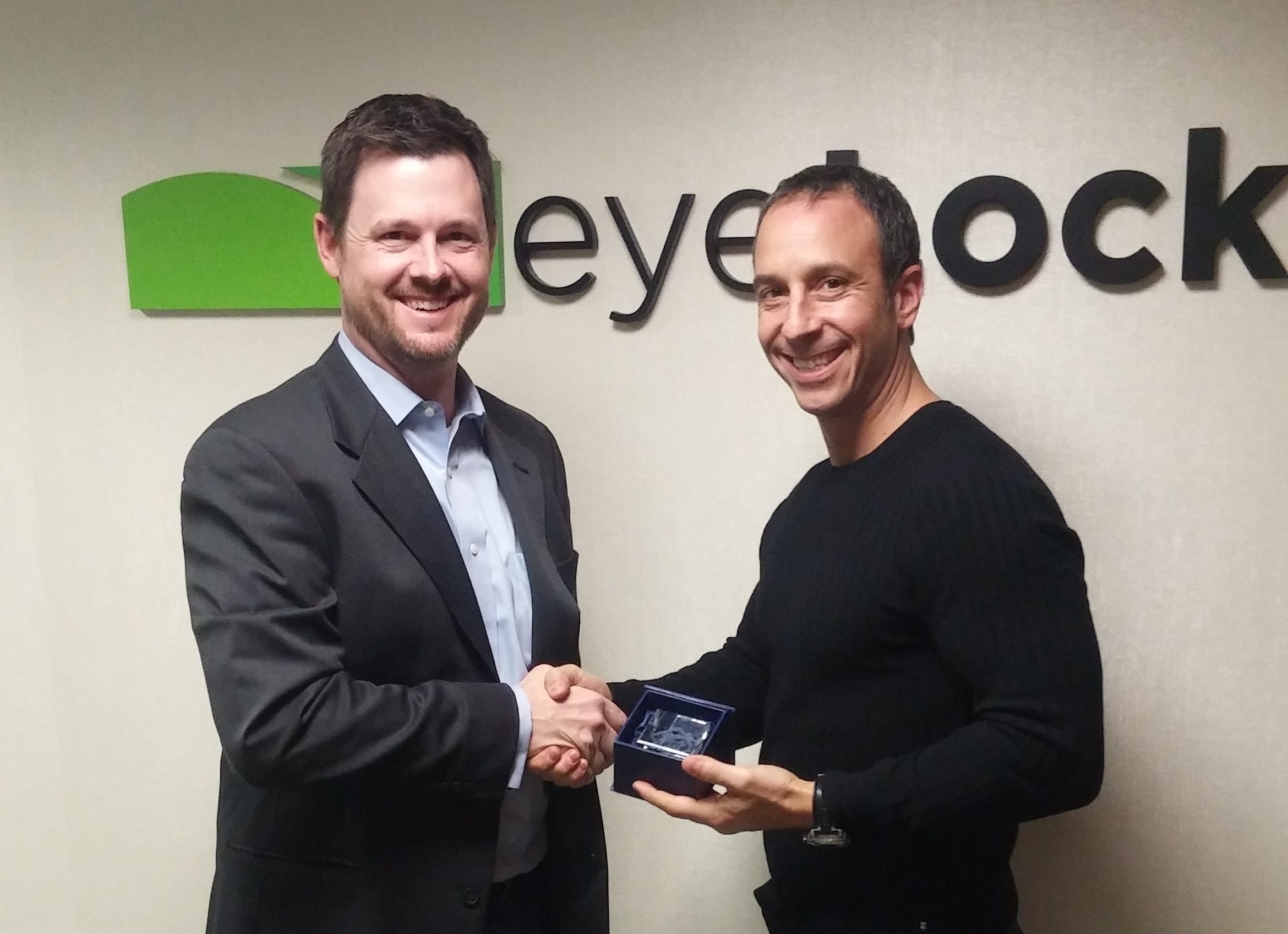 Eyelock's Chief Marketing and Business Development Officer Anthony Antolino (R) being presented with the 2016 BIG Innovation Award in New York.by Business Intelligence Group's Managing Director Russ Fordyce (L).