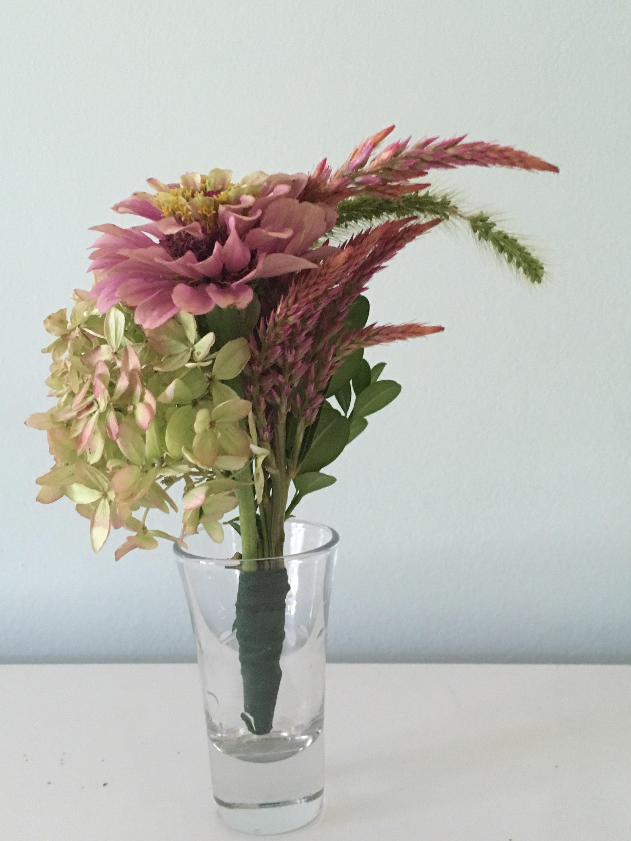 Hydrangea, Zinnea, Paintbrush, Boxwood, Wild Grass
