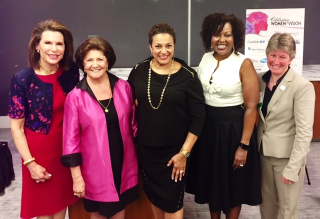 From left to right: Nancy Brinker; Founder of Susan G. Komen, Dorothy Gibbons; CEO and Co-Founder of The Rose, Debbi Jarvis; Champion of Corporate Social Responsibility, Regina Hampton and Beth Beck.