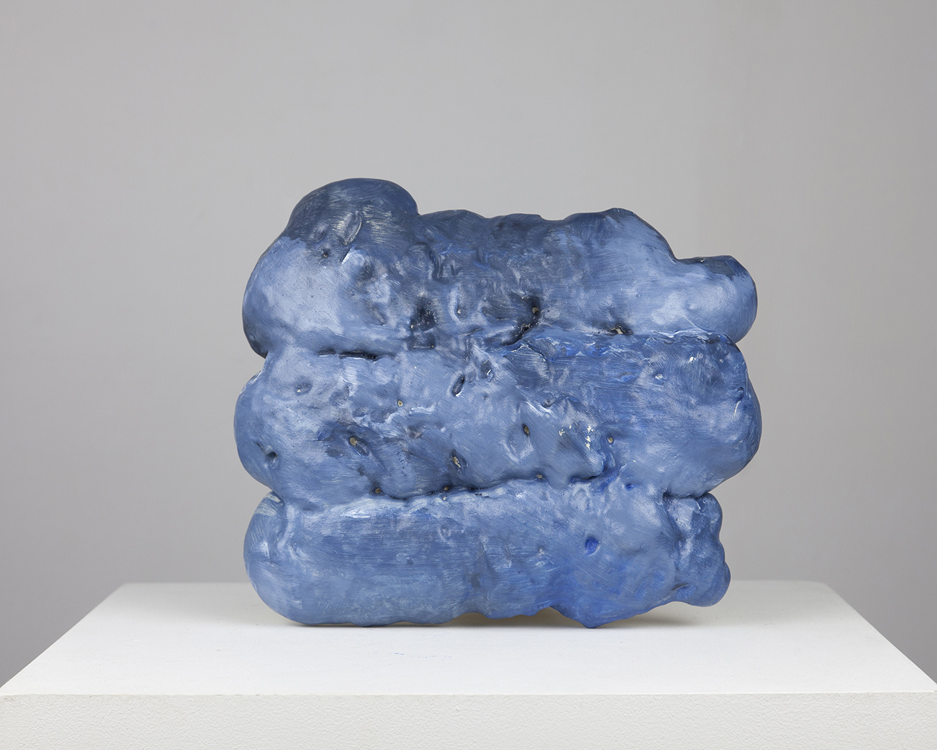 Dark blue expanding foam paint gesture (three strokes and out) from the series complex single strokes and multiple strokes
