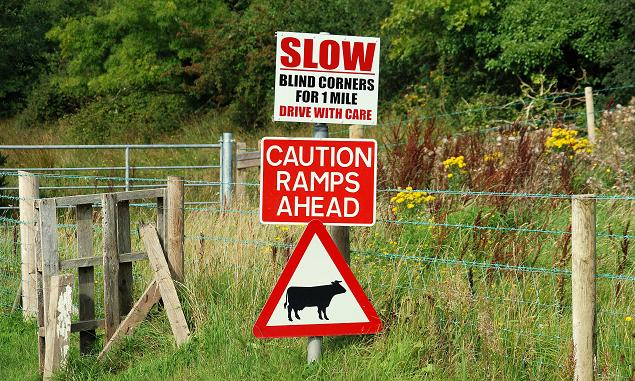 Image credit: Albert Bridge / Road signs near Downpatrick, from Wikimedia Commons