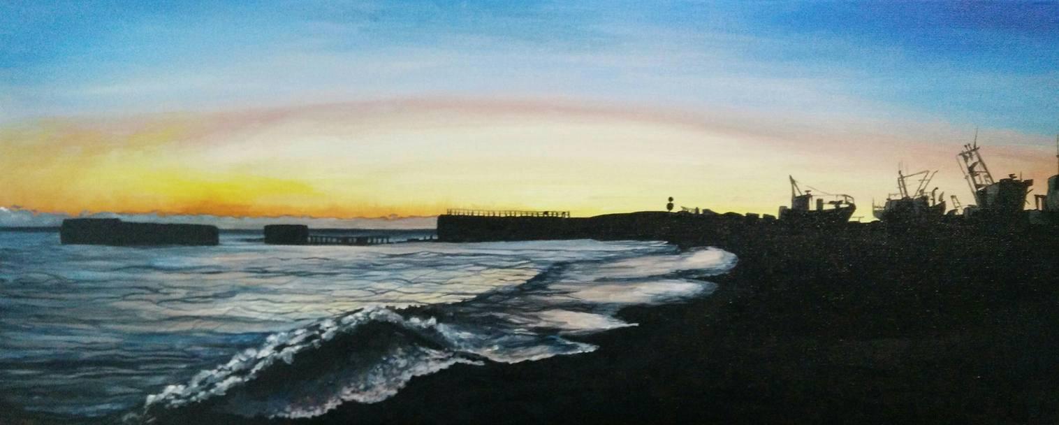 'Sunset, Hastings Beach' January 2016