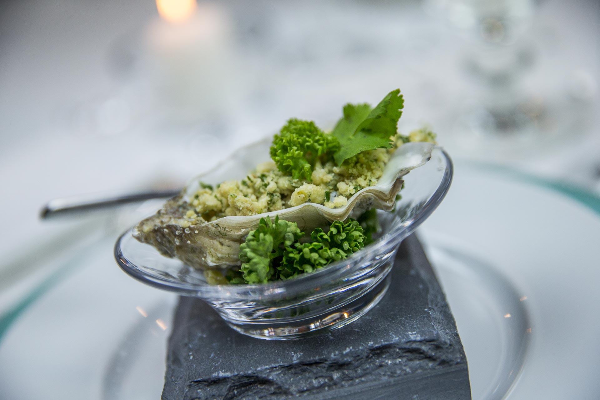 Crumble d'huîtres tièdes
