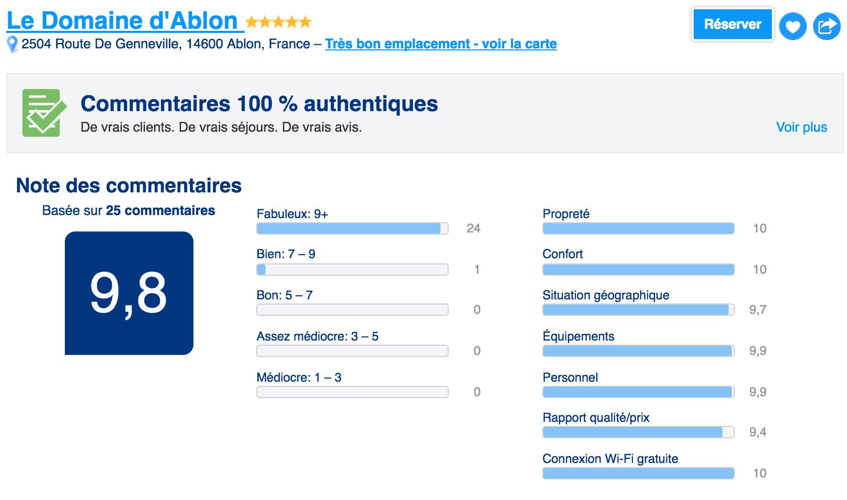 Note booking Domaine d'Ablon
