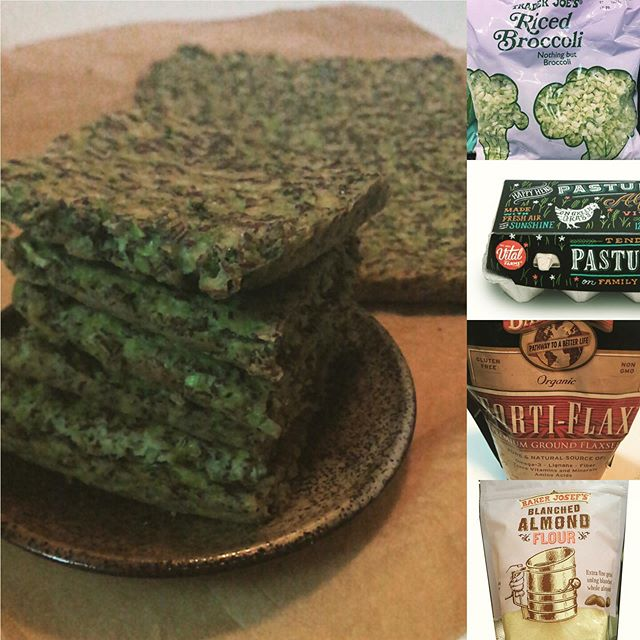 🥦🥦🥦Broccoli Bread! (grain-free, gluten-free and low carb)  5 whole food ingredients: riced broccoli, almond flour, ground flax seeds eggs (if you wish, you can veganize this recipe using an 🥚 substitute.) I added a pinch of kosher salt.  Eager to test-ride a (dairy-free) broccoli bread grilled cheese sandwich with @followyourheart smoked Gouda or @goodplanetfoods cheddar.🤩 The bread itself freezes beautifully. Thank you @drdomdpt for sharing the recipe📝 via  @simplyyarianne 👩🏻🍳🙏 #gamechanger  BROCCOLI BREAD🎩💫 2 cups riced broccoli  1/2 cup almond flour 1/2 cup ground flax seeds 4 whole eggs (or equivalent of plant-based 'egg' sub) Pinch of salt (optional)  Method: Preheat oven to 350 degrees. Line a half sheet pan with parchment paper. In one bowl, mix all ingredients.  Spread mixture to 1/4-inch thickness on pan.  Bake 20-25 minutes or til edges of pan begin to brown. 🌱💚🌱 @barleans @vitalfarms @traderjoes  #wellnesswednesday  #poweredbyplants