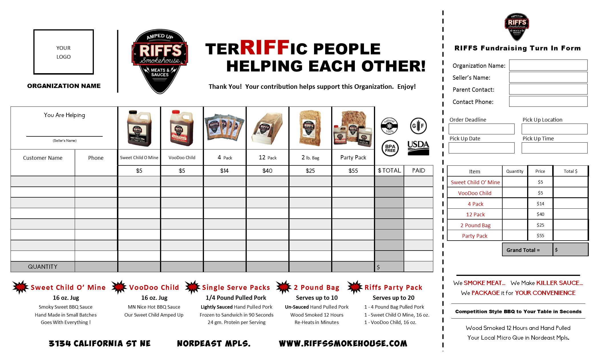 Riffs Smokehouse Fundraising Sales Sheet