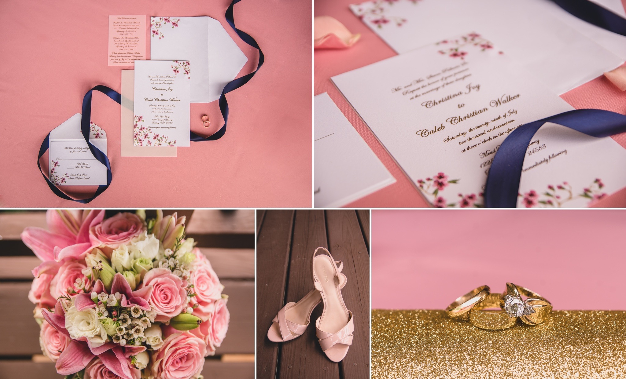 military wedding in blush pink and navy at mead lake lodge rustburg virginia by jonathan hannah photography