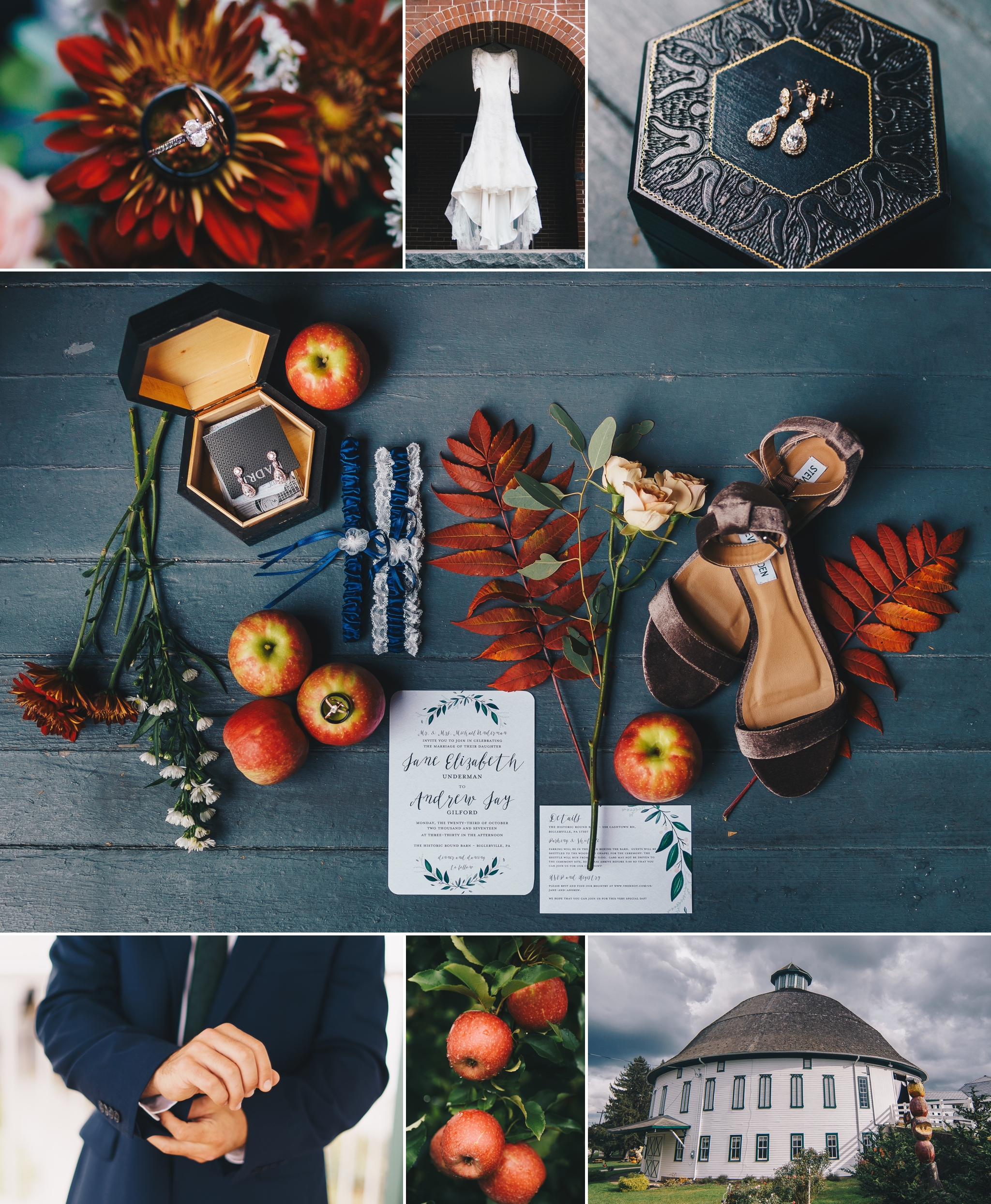 rustic chic apple orchard wedding at round barn pennsylvania by jonathan hannah photography
