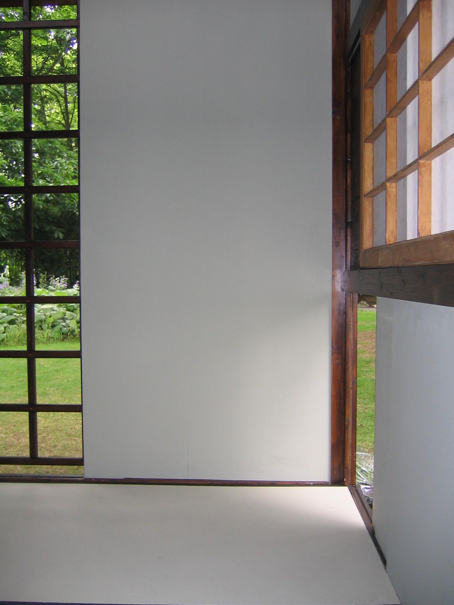 """2005 """"Japanese Tea house""""Three mat, non functional outdoor sculpture at the Harold Martin Botanic Garden, Leicester, England."""