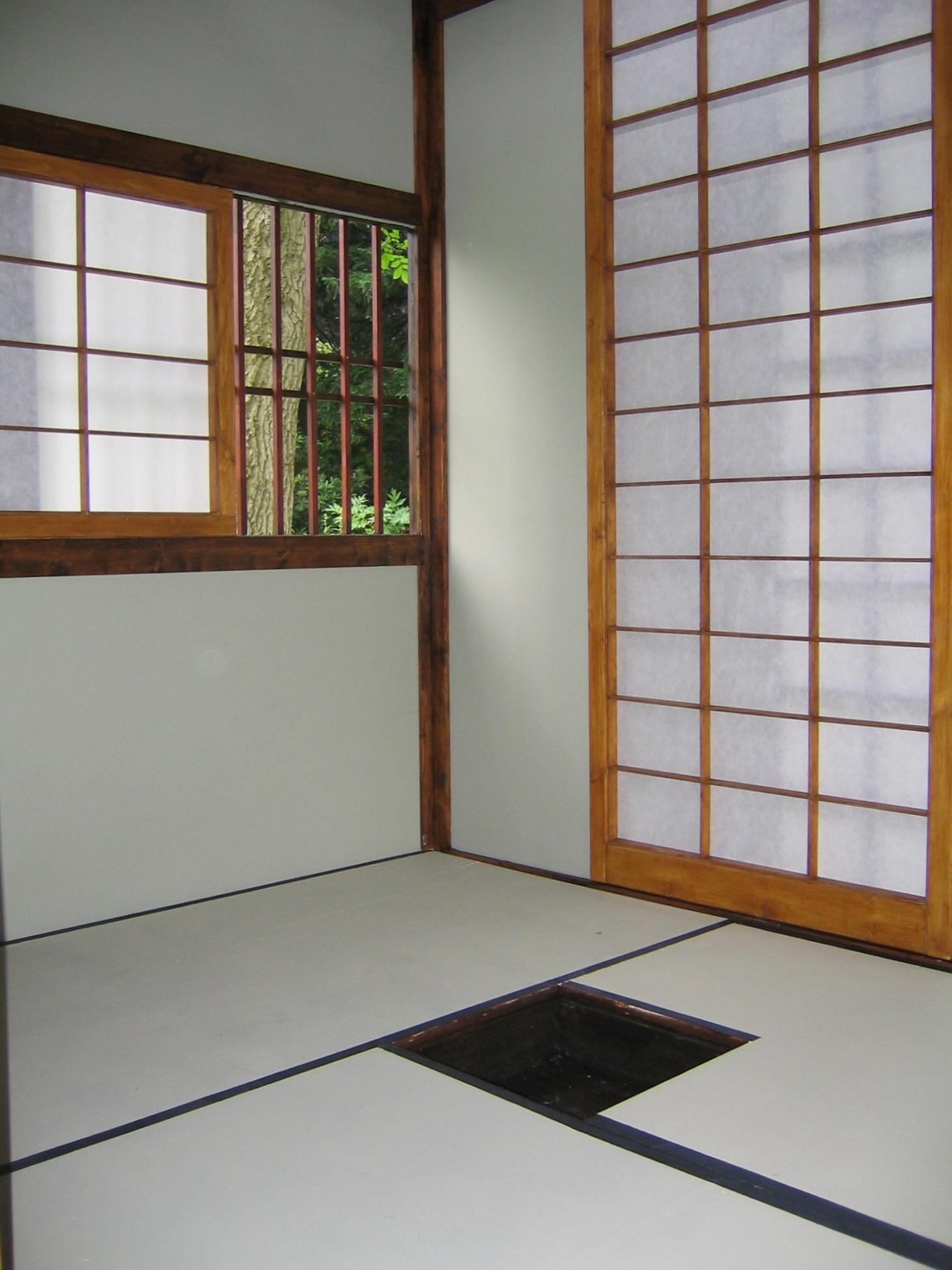"""2005 """"Japanese Tea house"""" Three mat, non functional outdoor sculpture at the Harold Martin Botanic Garden, Leicester, England."""