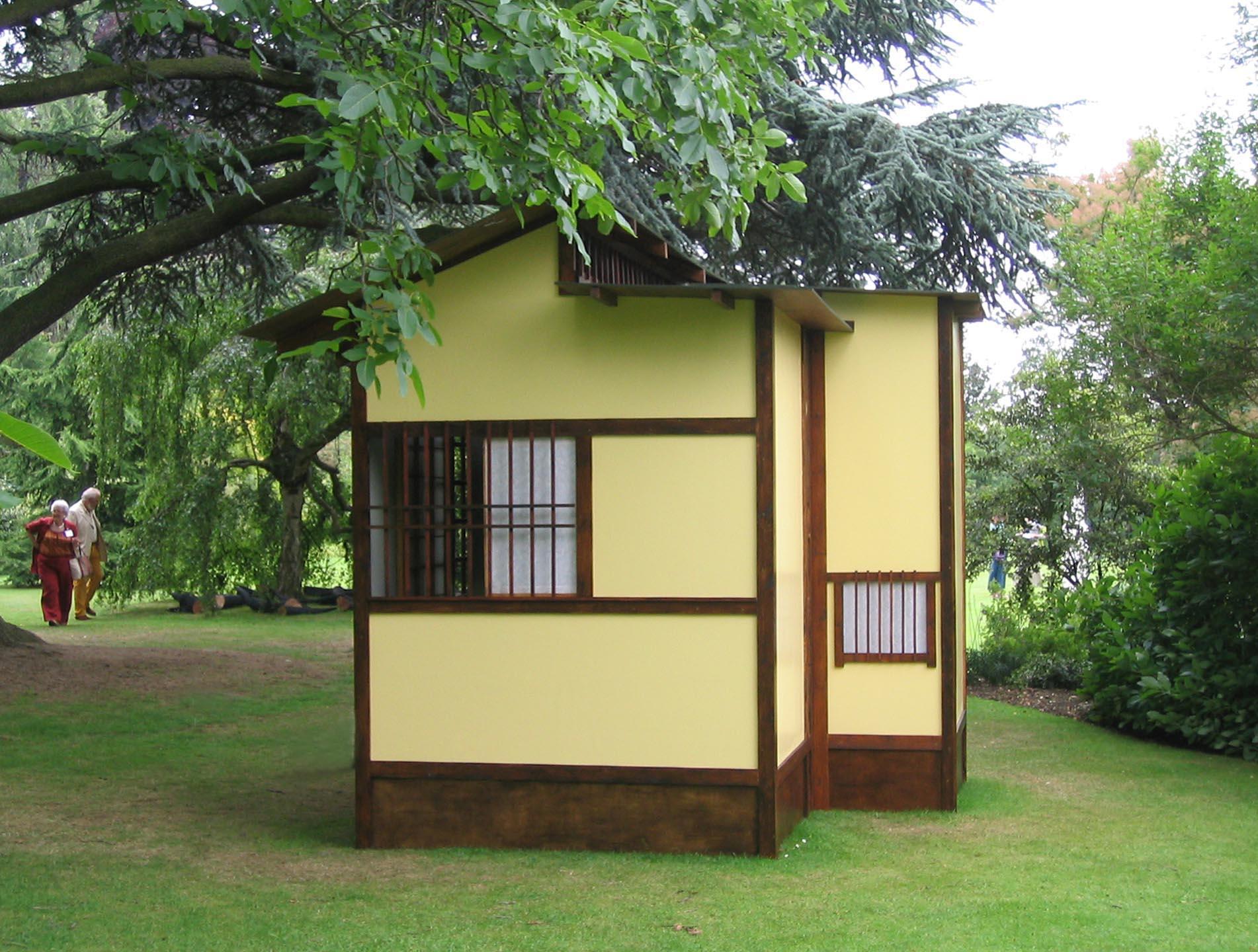 """2005 """"Japanese Tea house"""" Three mat, non functional outdoorsculpture at the Harold Martin Botanic Garden, Leicester, England."""