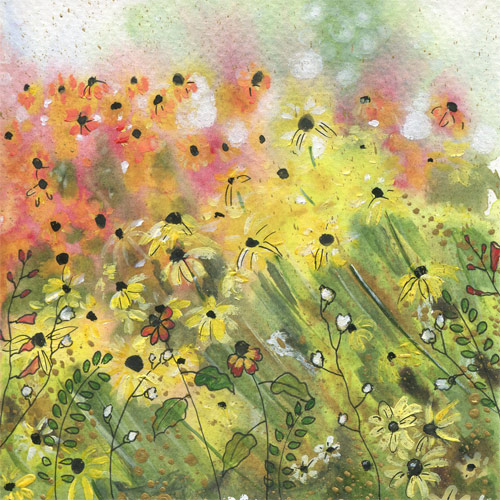 ORIGINAL WATERCOLOR, ACRYLIC AND PEN PAINTING 5X5 Inches, Ethereal Garden 1: $60   Purchase