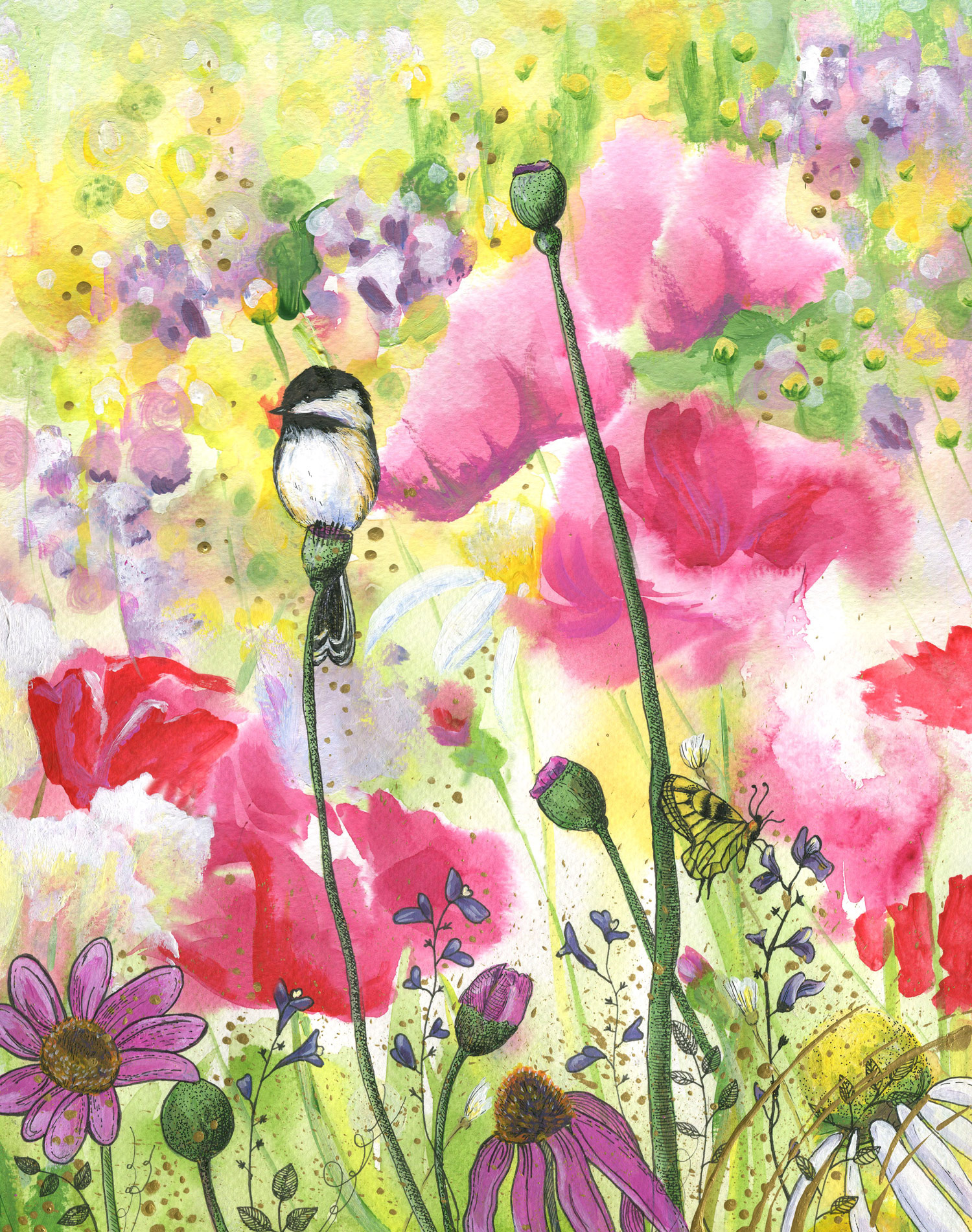 ORIGINAL WATERCOLOR, ACRYLIC AND PEN PAINTING11X14 Inches, Chickadee Wildflowers : $370   Purchase