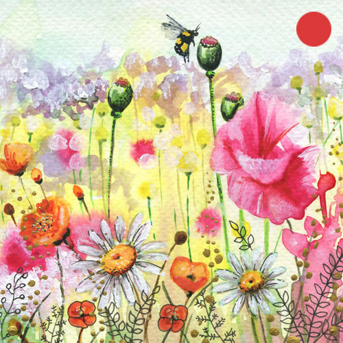 ORIGINAL WATERCOLOR, ACRYLIC AND PEN PAINTING 5X5 Inches, Ethereal Garden 5:  SOLD