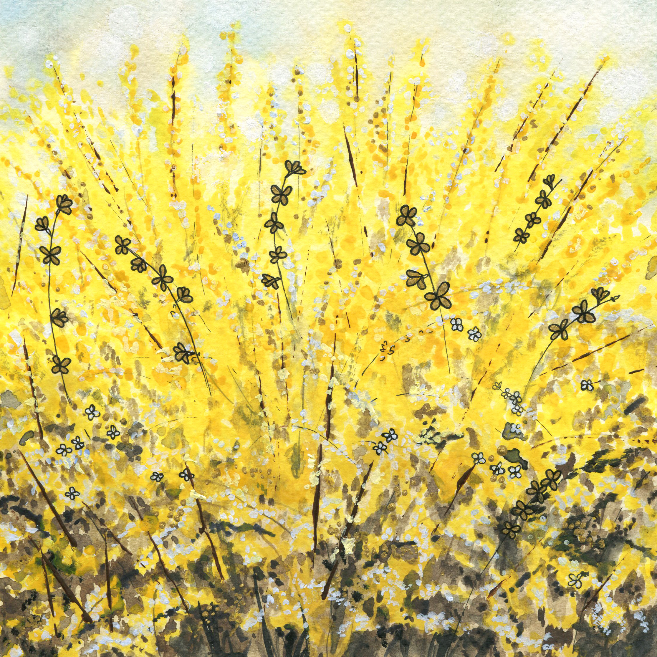 ORIGINAL WATERCOLOR, ACRYLIC AND PEN PAINTING 8X8 Inches, Forsythia: $250  (Message to claim)