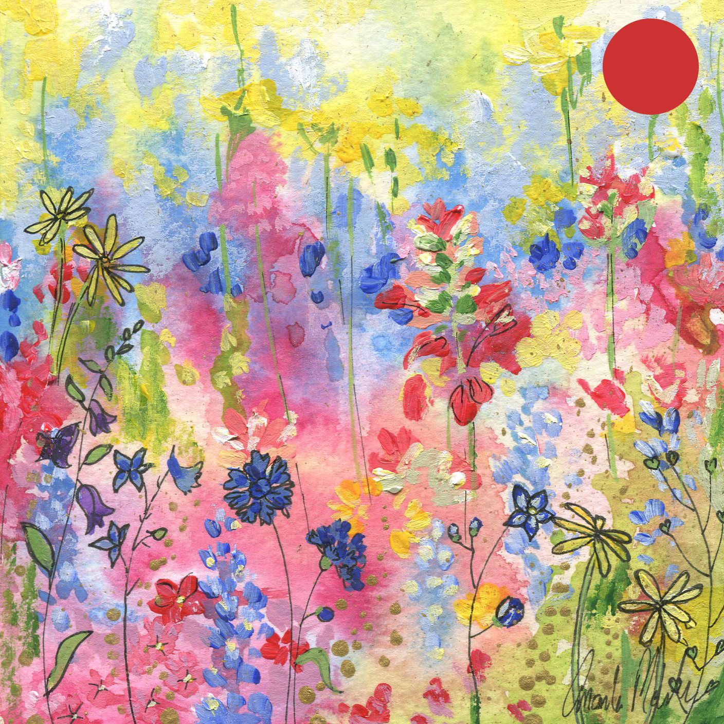 SOLD:  ORIGINAL WATERCOLOR, ACRYLIC AND PEN PAINTING 5X5 Inches, Wildflowers: