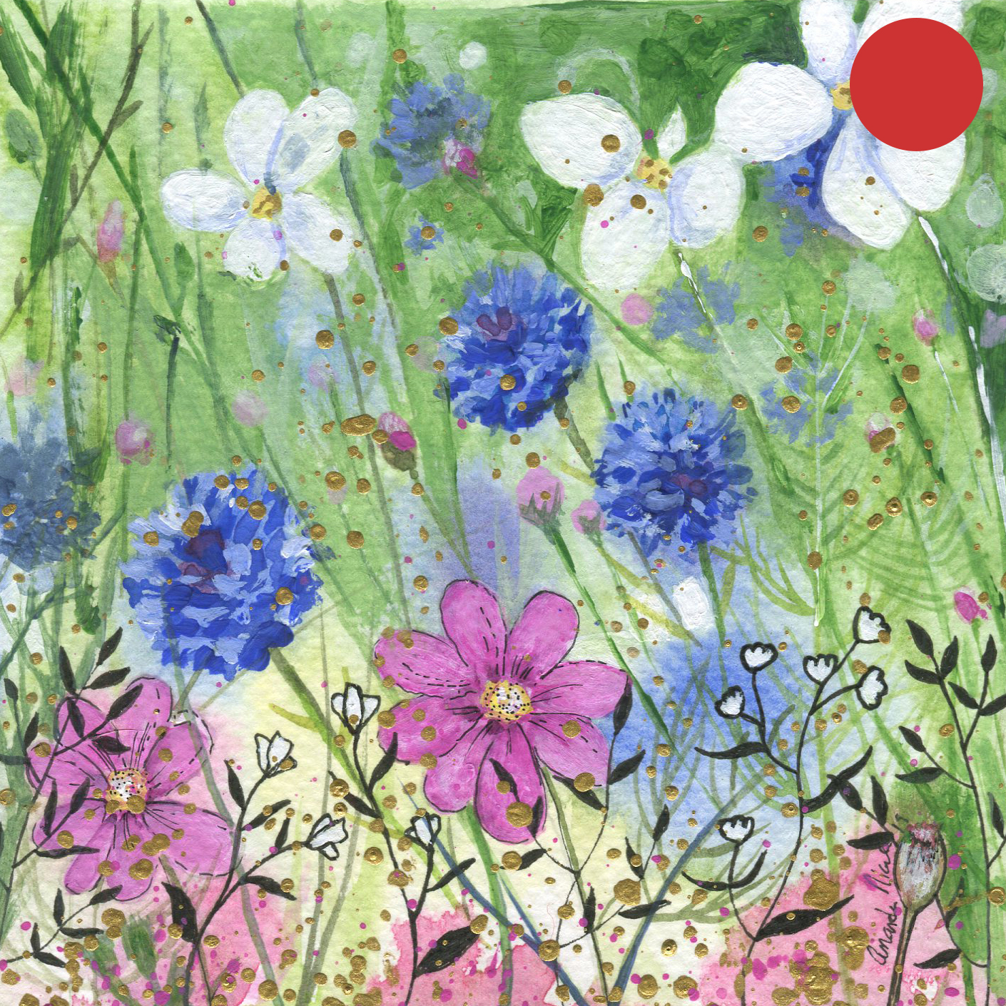 SOLD:  ORIGINAL WATERCOLOR, ACRYLIC AND PEN PAINTING 5X5 Inches, Ethereal Garden 4: