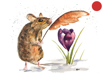 Mouse and Crocus:  Original Watercolor, 5x6:  SOLD
