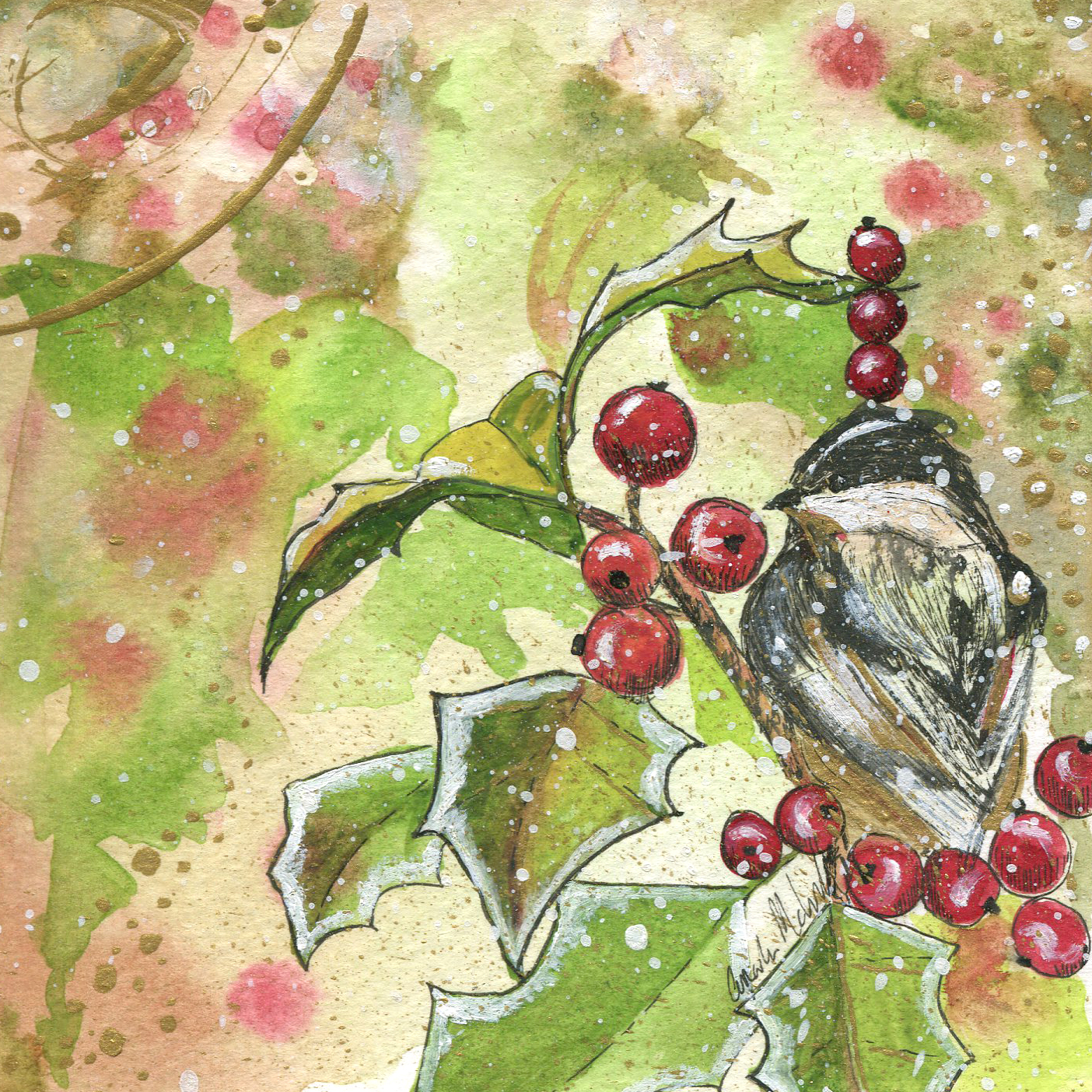 ORIGINAL WATERCOLOR, ACRYLIC AND PEN PAINTING 5X5 Inches, Chickadee and Holly: $65