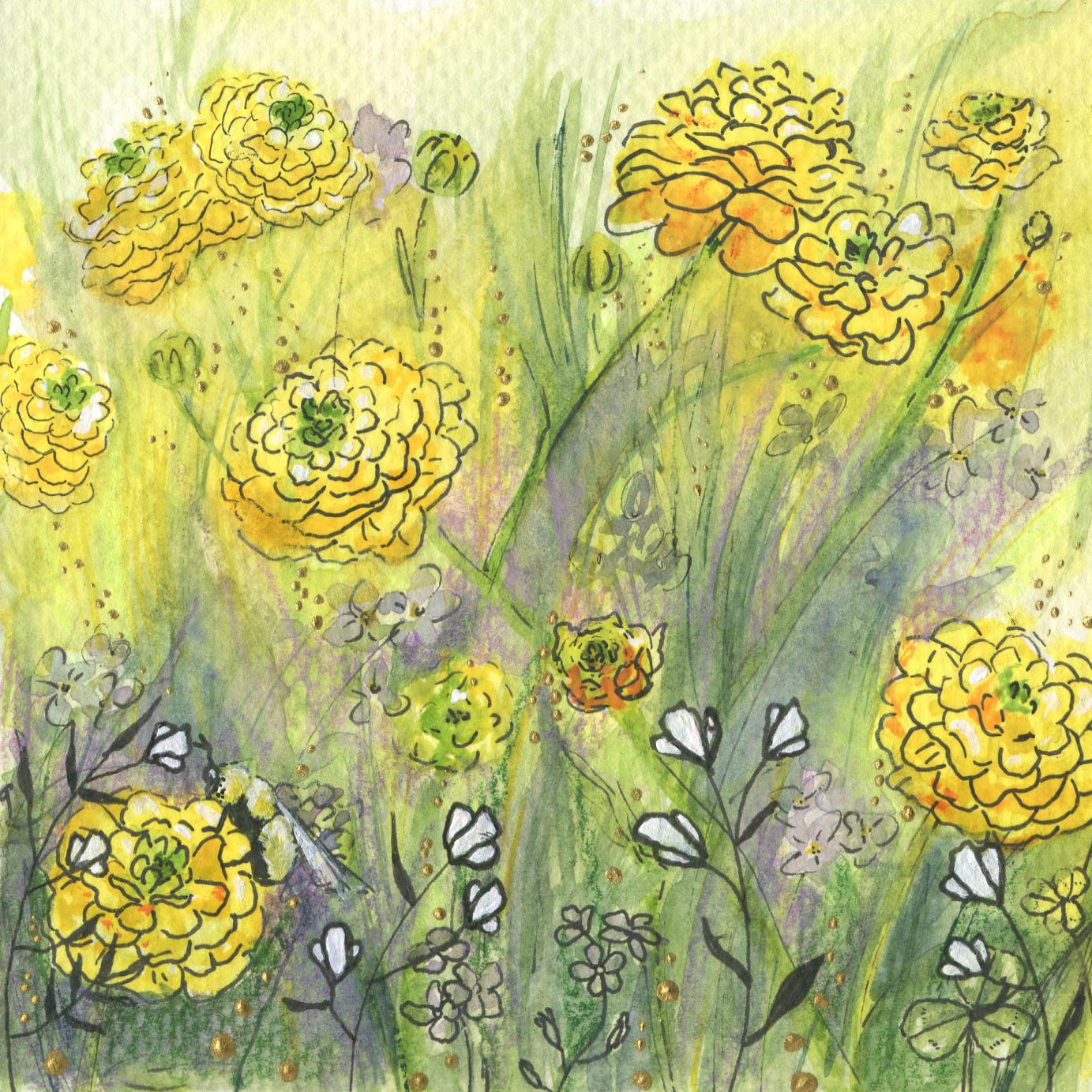 ORIGINAL WATERCOLOR, ACRYLIC AND PEN PAINTING 5X5 Inches, Golden Glow: $65