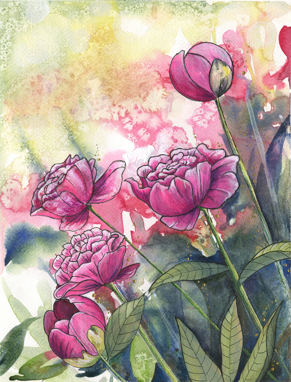 ORIGINAL WATERCOLOR, ACRYLIC AND PEN PAINTING 11X14 Inches, Peonies: $400