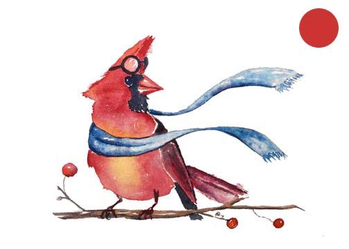 Cardinal Pilot:  Watercolor, 5x6:  SOLD